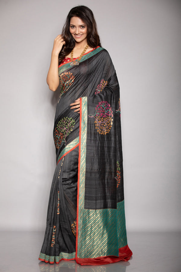 Black Tussar Benarasi Saree