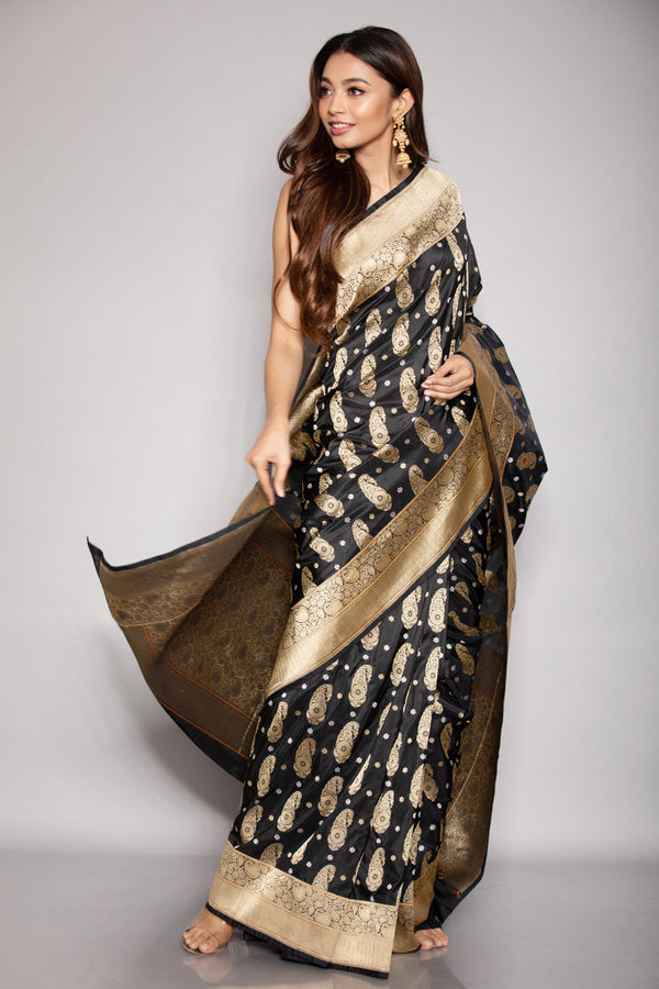 Black Karwa Benarasi Silk Saree