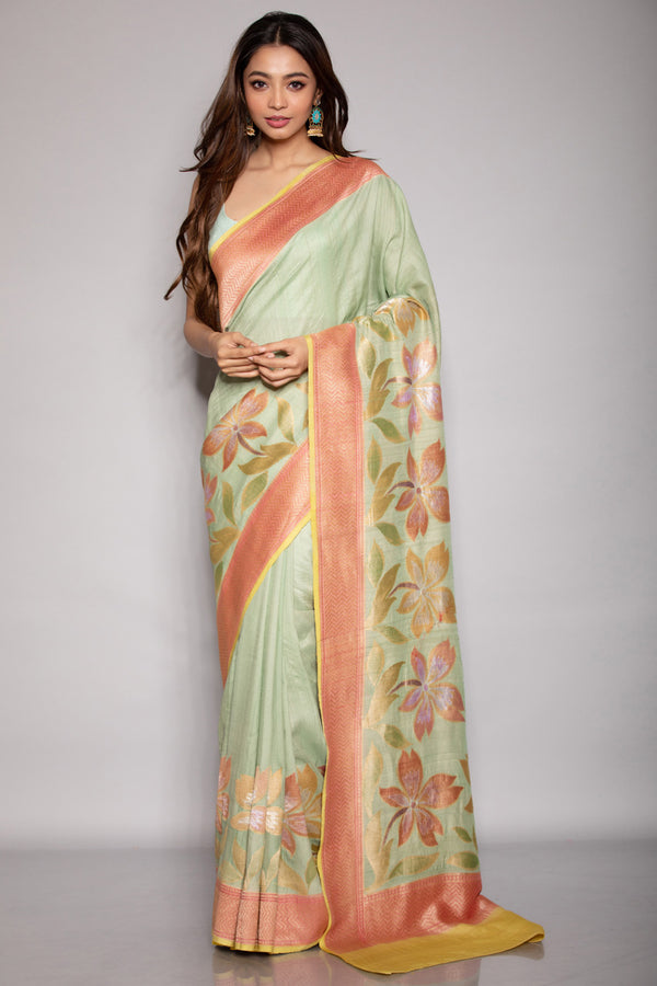 Green Tussar Khadi Saree