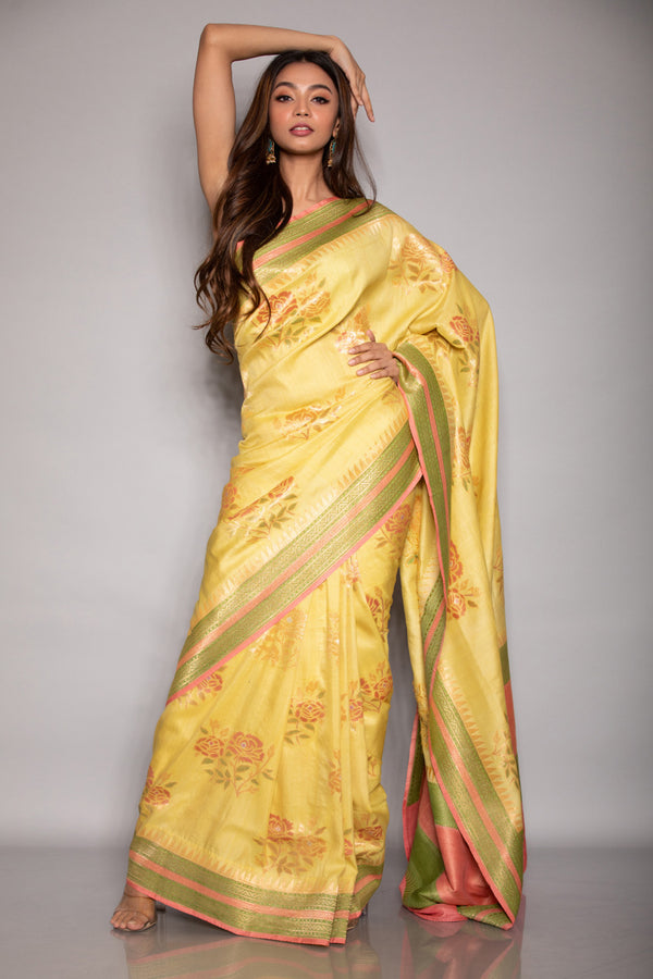 Yellow Tussar Khadi Saree