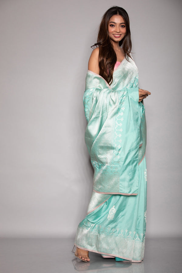 Teal Katan Silk Saree