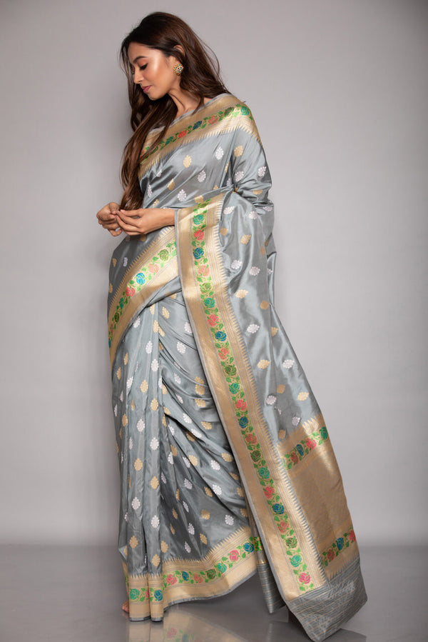 Grey Katan Silk Saree