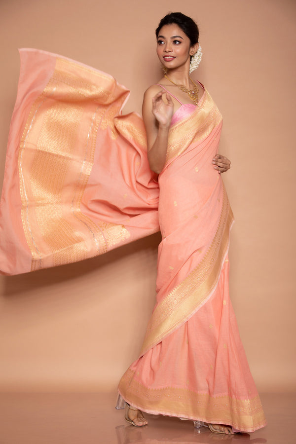 Pink Cotton Benarasi Saree