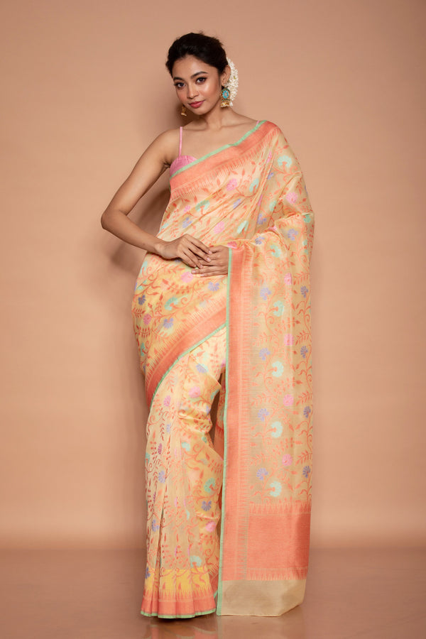 Light Orange Cotton Benarasi Saree