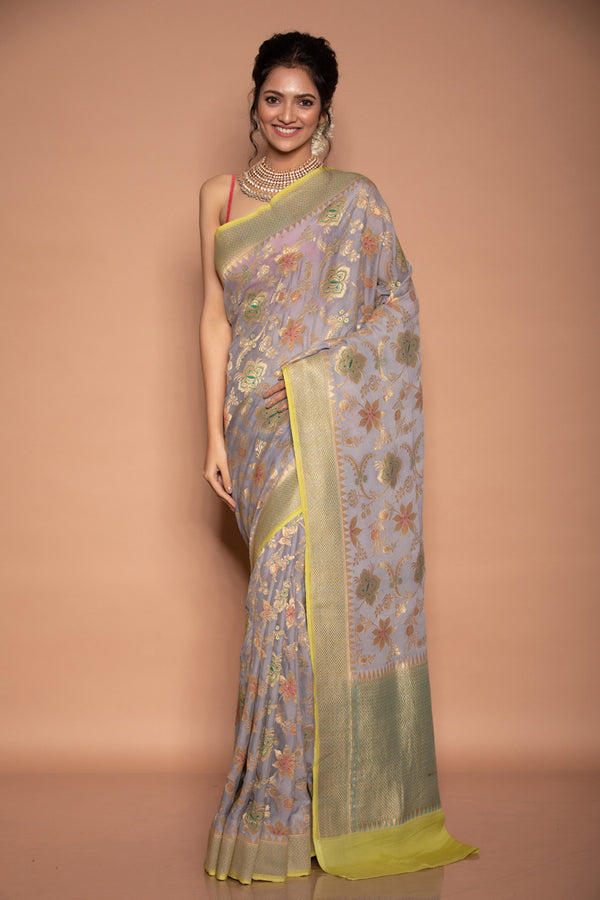 Grey Benarasi Georgette Saree
