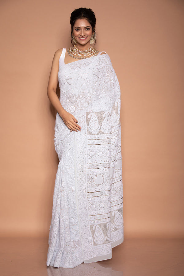Light Grey Chikankari Georgette Saree