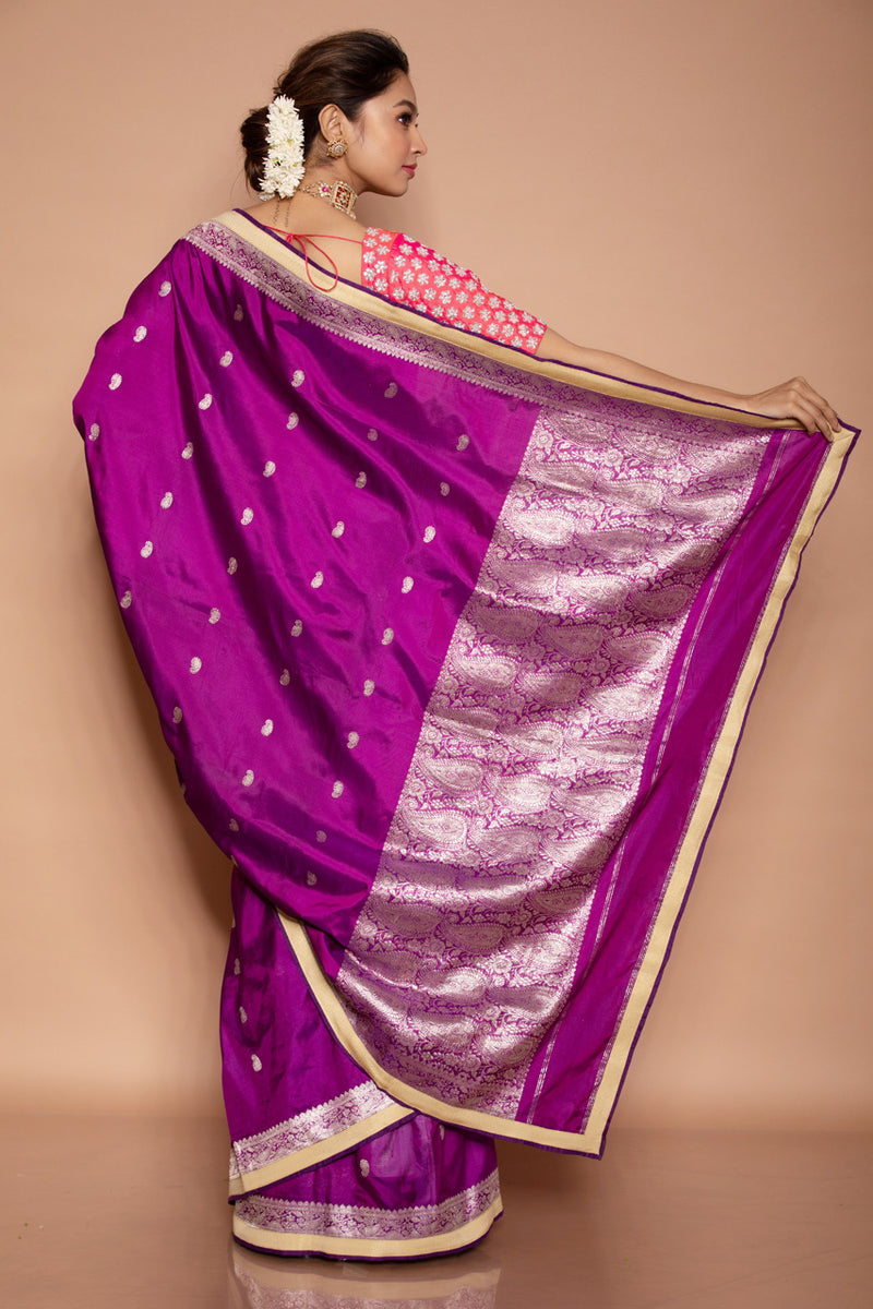 Purple benarasi saree