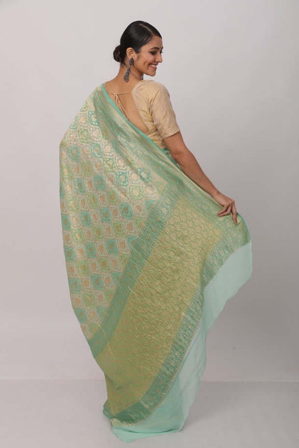 Green Benarasi Georgette Saree