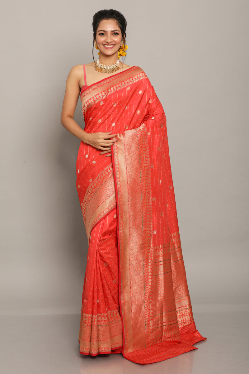 Red Benarasi Silk Saree