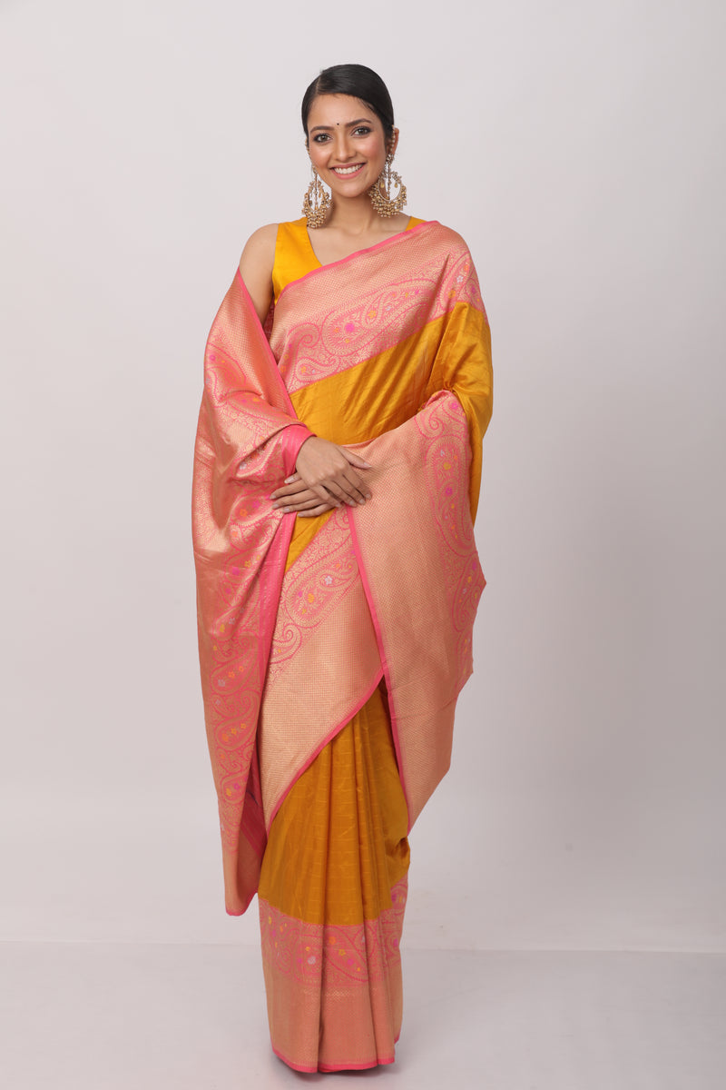 Yellow Katan Silk Benarasi Saree