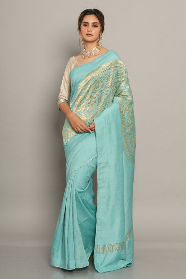 Blue muga silk saree