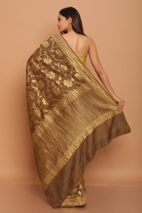 Coffee Muga Silk Saree