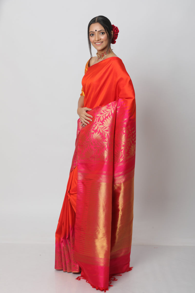 Orange Kanjiveram Silk Saree