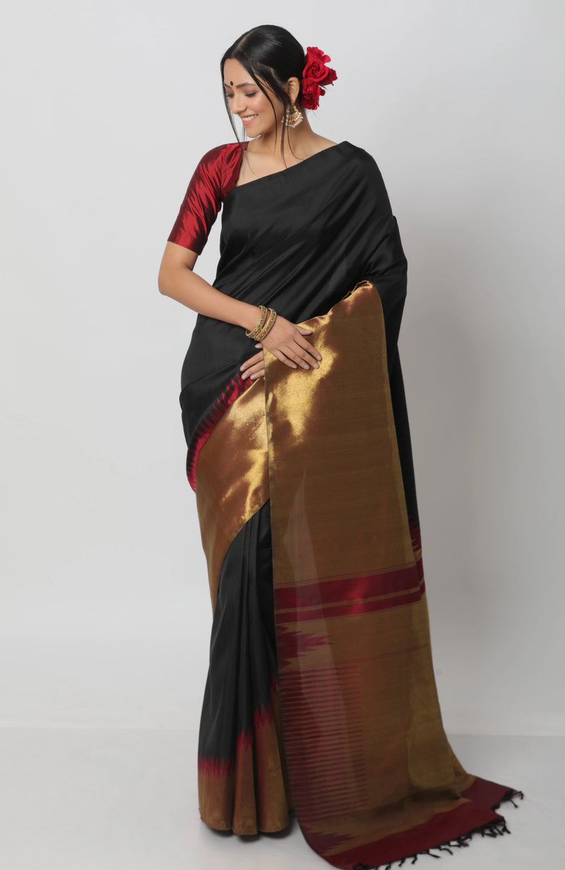 Black and Gold Temple Border Kanjiveram Silk Saree