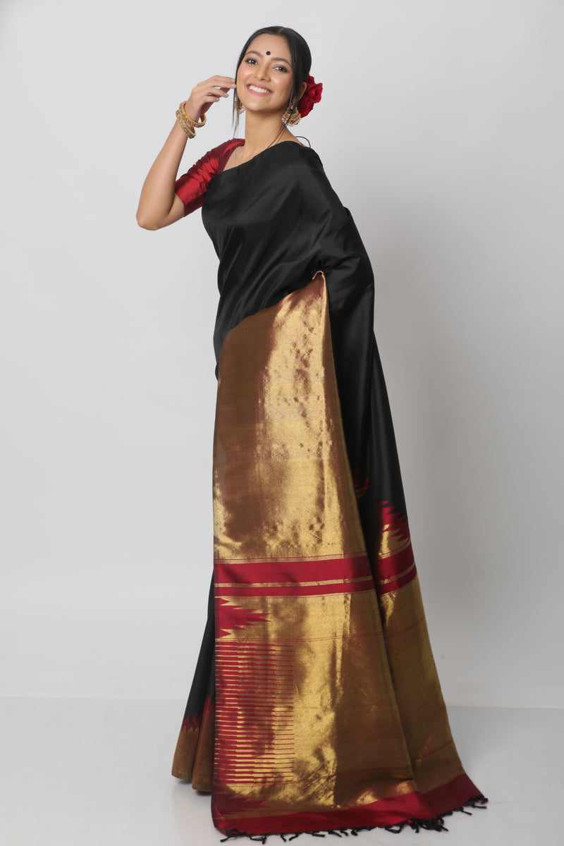 Black and Gold Kanjiveram Silk Saree