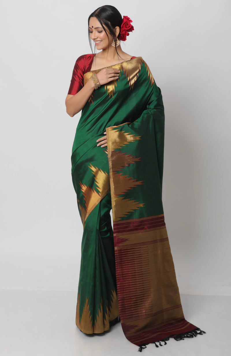 Green Temple Border Kanjiveram Silk Saree