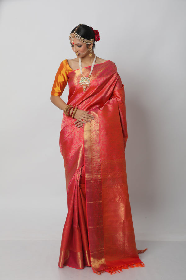 Short Color Kanjiveram Saree