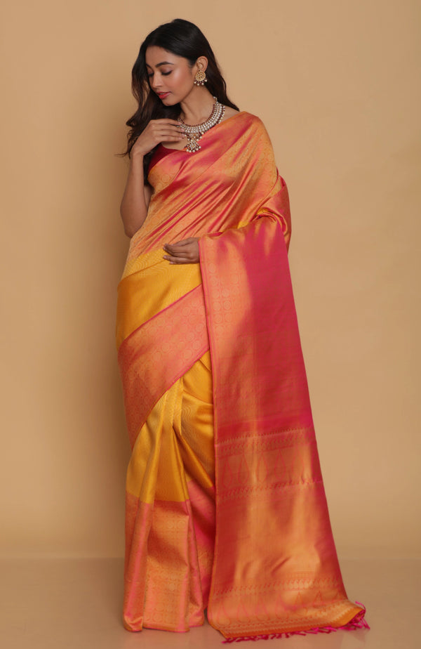 Yellow Kanjiveram Silk Saree