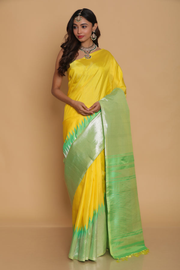 Yellow and Green Kanjiveram Saree