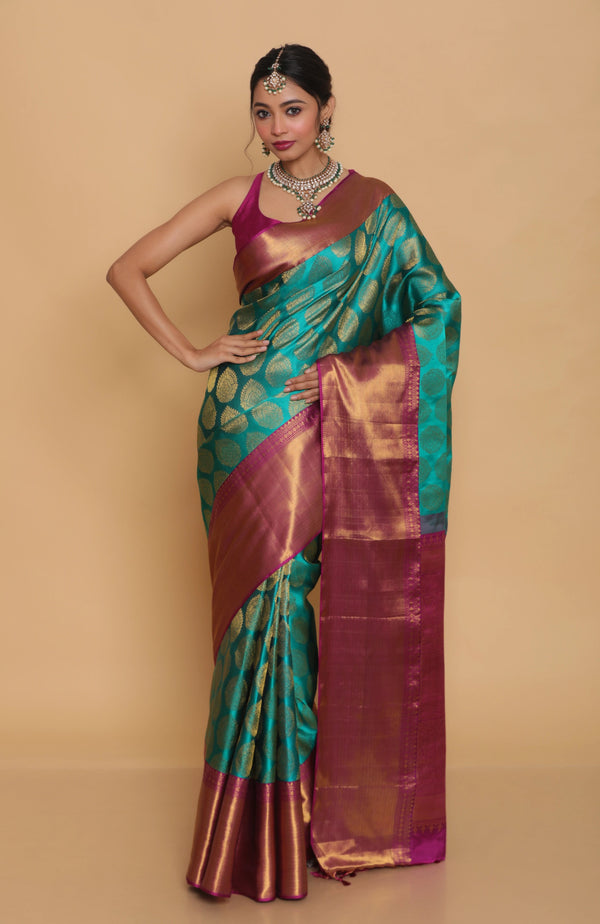 Rich Green Kanjiveram Silk Saree with Pure Zari
