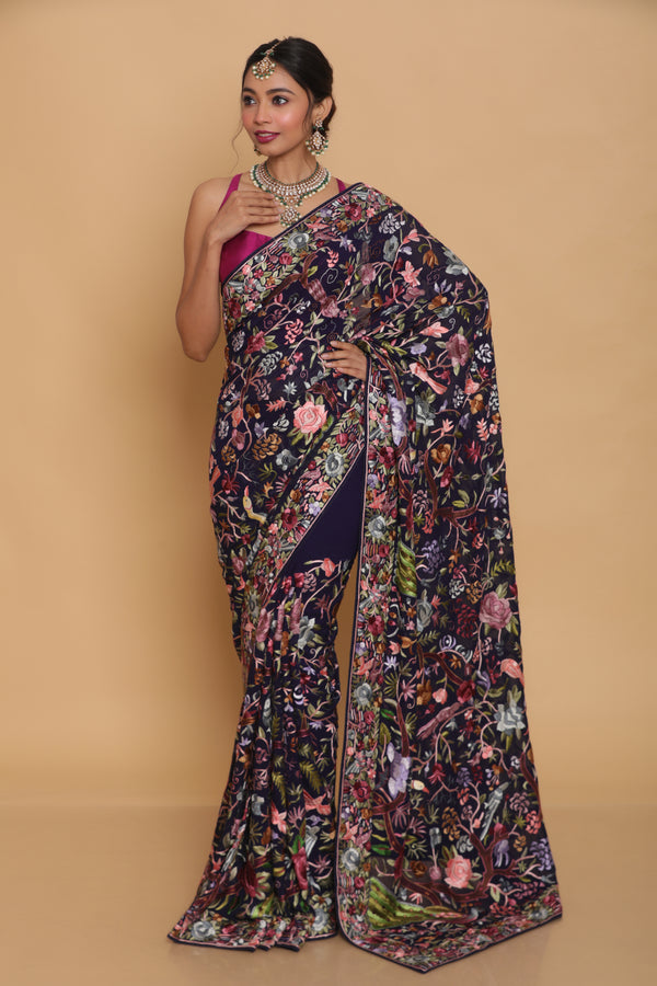 Blue Hand Embroidered Gara Parsi Saree