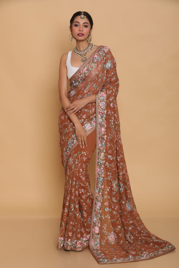 Brown Hand Embroidered Gara Parsi Saree