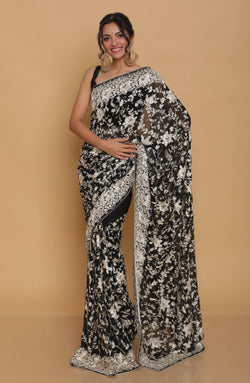 Black Hand Embroidered Gara Parsi Saree