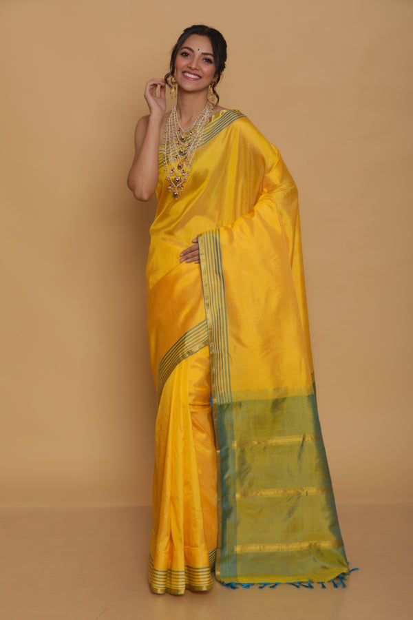 Sunshine Yellow Kanjiveram Saree