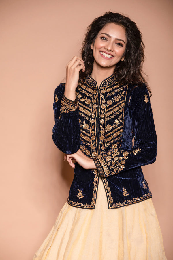 Blue Velvet Jacket with Gold Embroidery