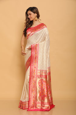 Handwoven Benarasi Saree with Paithani Border