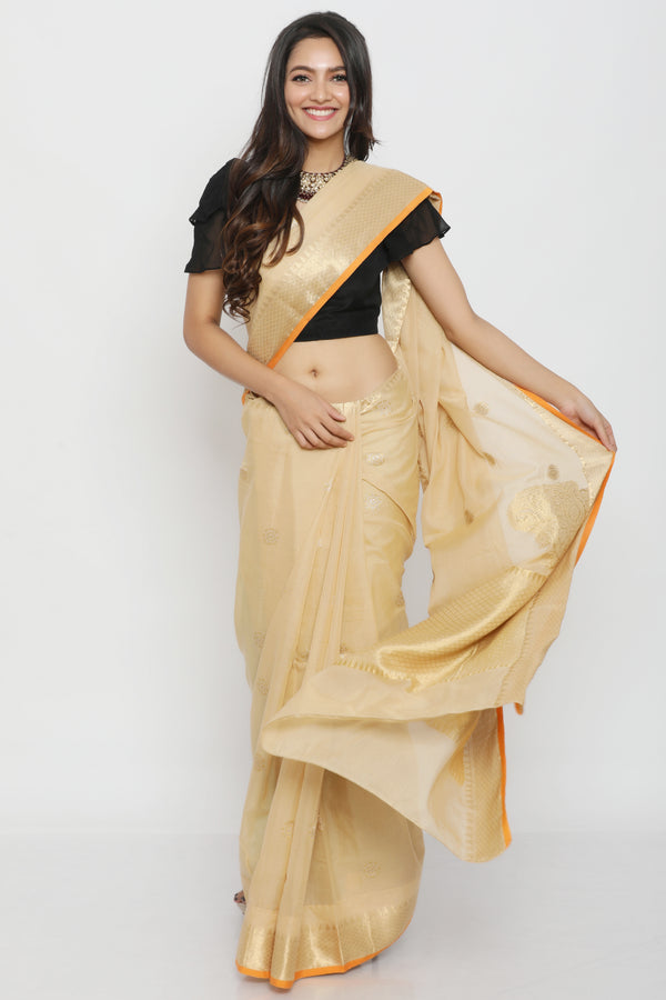 Gold Kora Benarasi Silk Saree