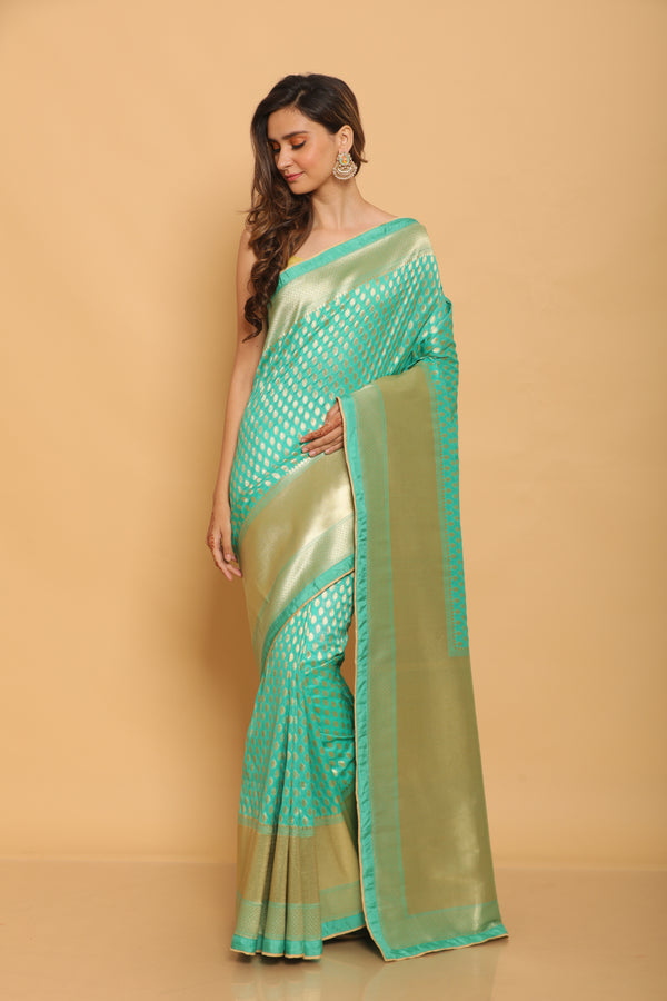 Teal Benarasi Silk Saree