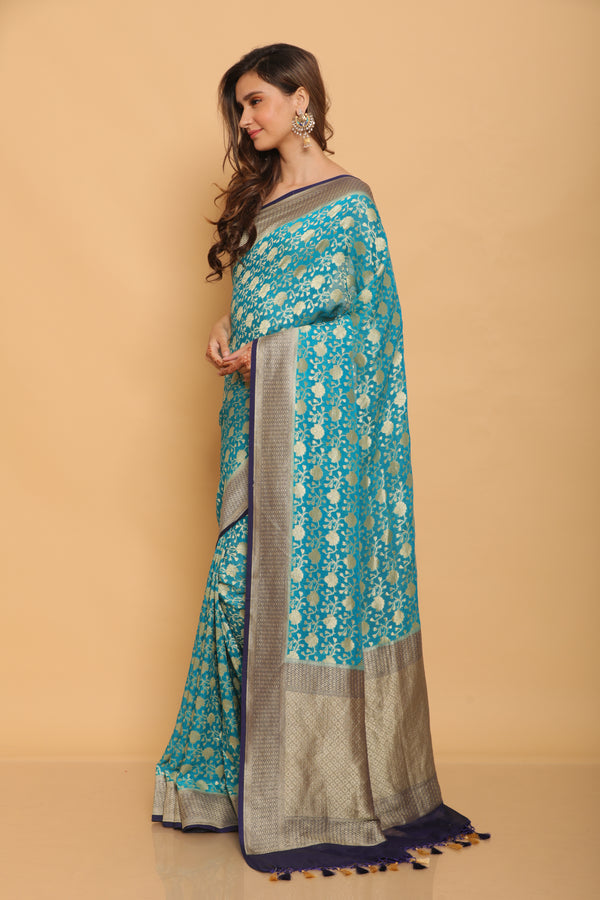 Blue Benarasi Georgette Saree