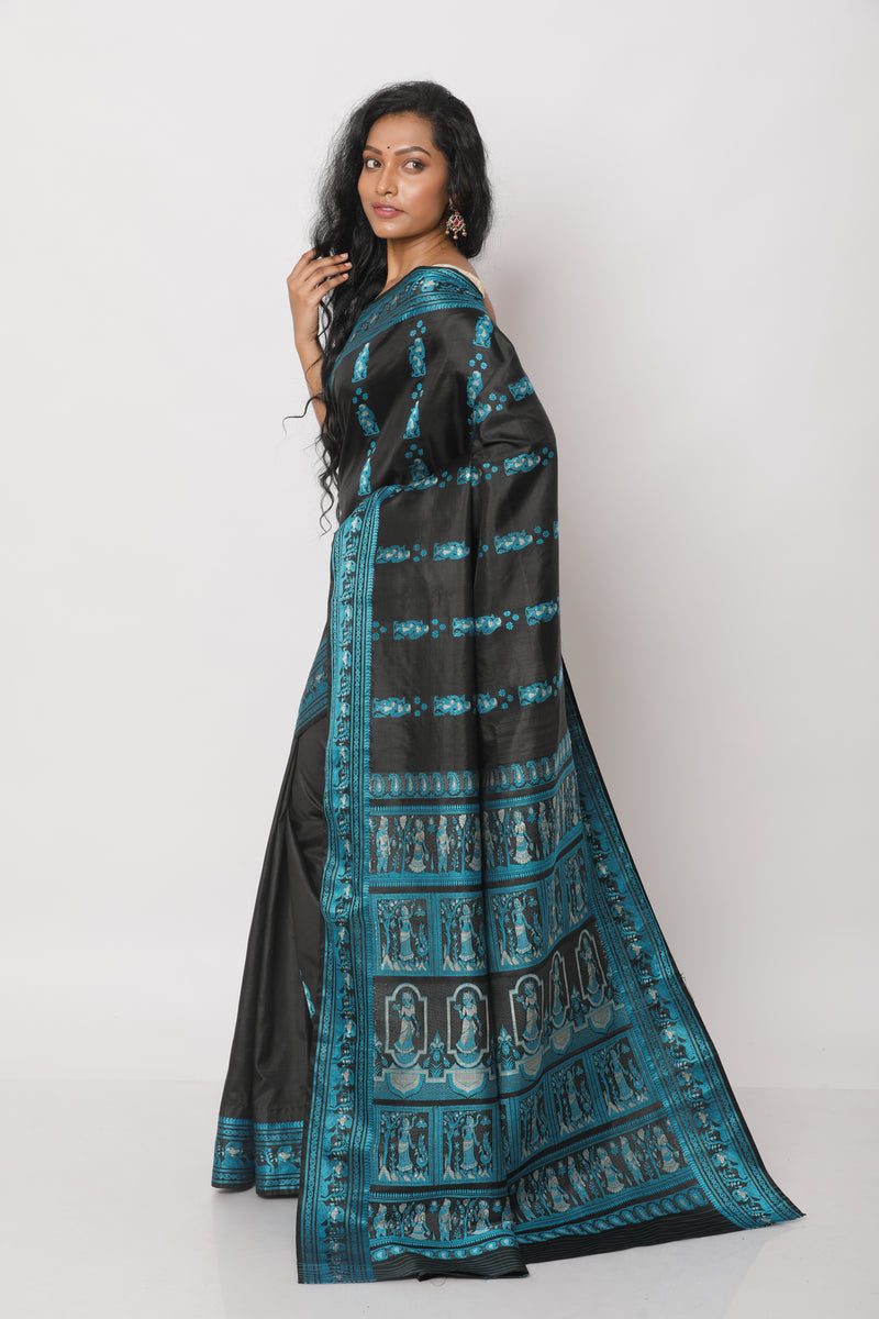 Black and Blue Baluchari Saree