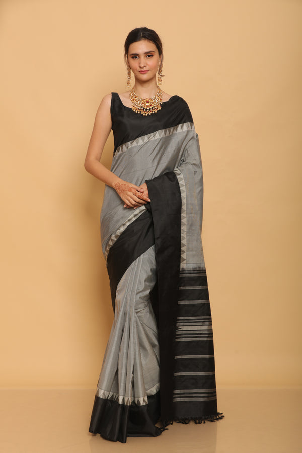 Black and White Kanjiveram Silk Saree