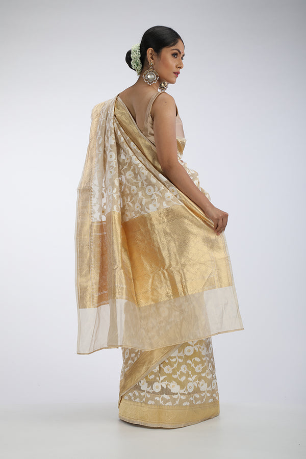 White and Gold Kora silk saree