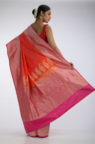 Orange Benarasi Silk Saree