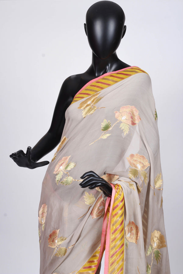 Silver-Grey benarasi georgette saree