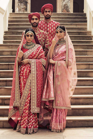 Sabyasachi Red Benarasi Saree