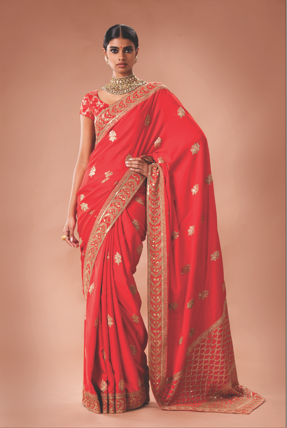 Red Satin Saree