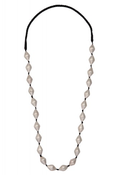 Silver and Black Dholki Bead Necklace