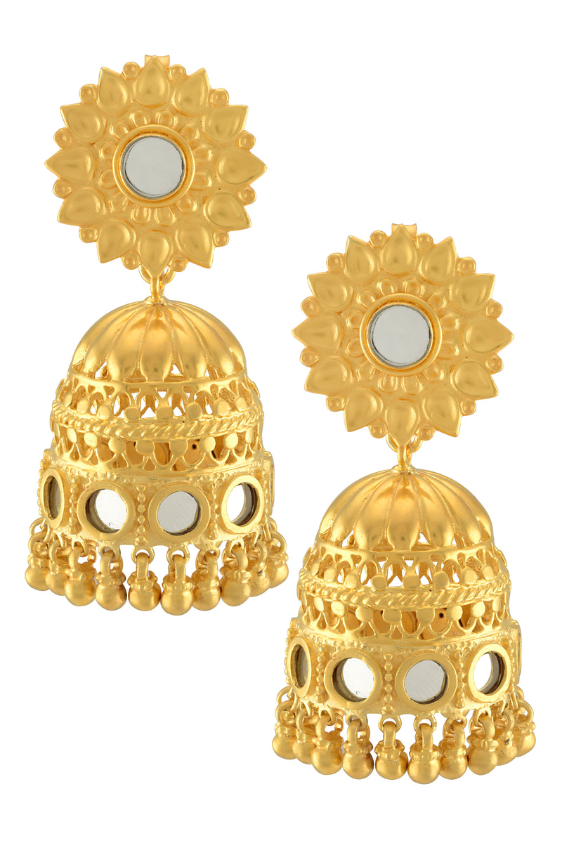 Silver Gold Plated Flower Mirror Jhumka Earrings