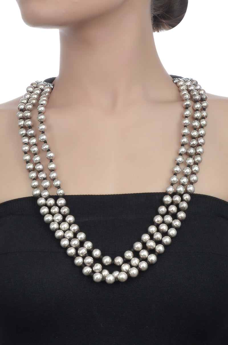 Silver Three Layer Round Bead Necklace