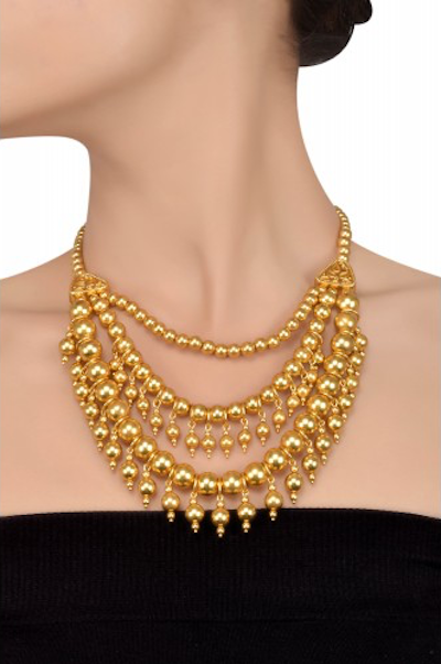 Silver Gold Plated Multi Bead Tri Strand Necklace