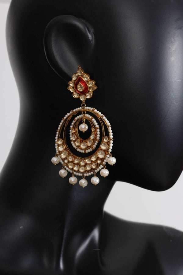 Silver Gold Plated Chandbali Earrings