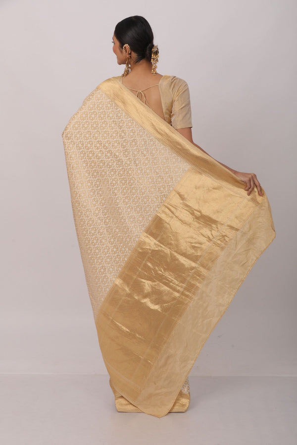 White and gold kora silk benarasi saree