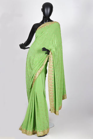 Apple green georgette saree