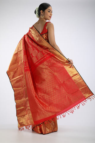 Red kanjiveram silk saree