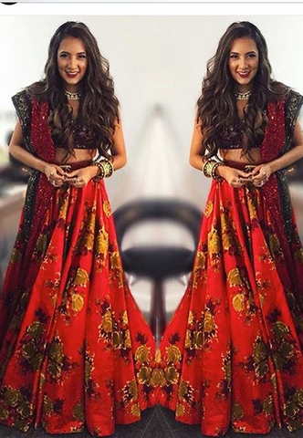 Printed Raw Silk  Lehenga