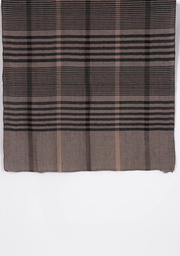 Black and Beige Check Wool Shawl